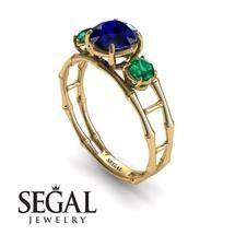 Organic Love' Bamboo Blue Sapphire Engagement Ring 14K Yellow Gold - Hannah no. 7