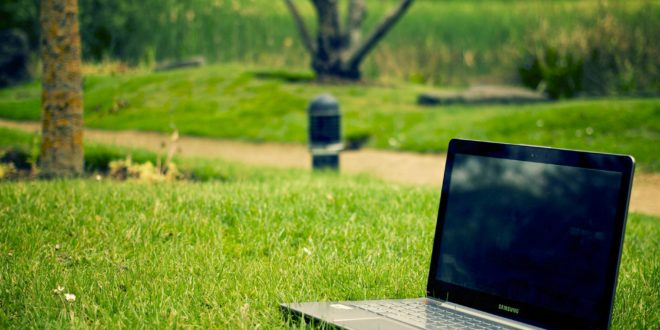 eco grass laptop meadow