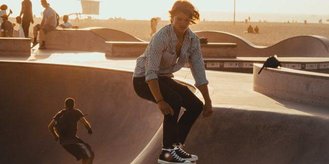 man riding on skateboard