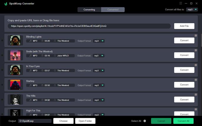 Add Spotify Playlist to SpotiKeep Converter