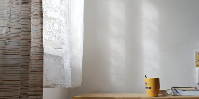 yellow heating radiator and table against white wall