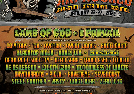 ShipRocked 2022: Lamb Of God, I Prevail, Steel Panther, Badflower, Sevendust, Avatar, P.O.D. & More; Ultimate Rock Music Cruise Vacation January 22-27 On Carnival Breeze (Galveston/Costa Maya/Cozumel)